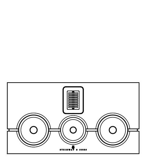Technical drawing of Model M center speaker