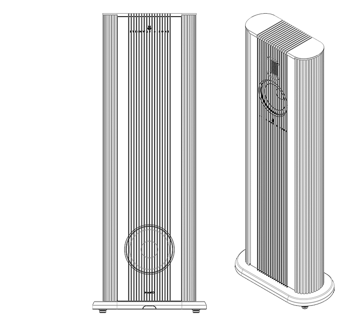 Technical drawing of Model O speakers