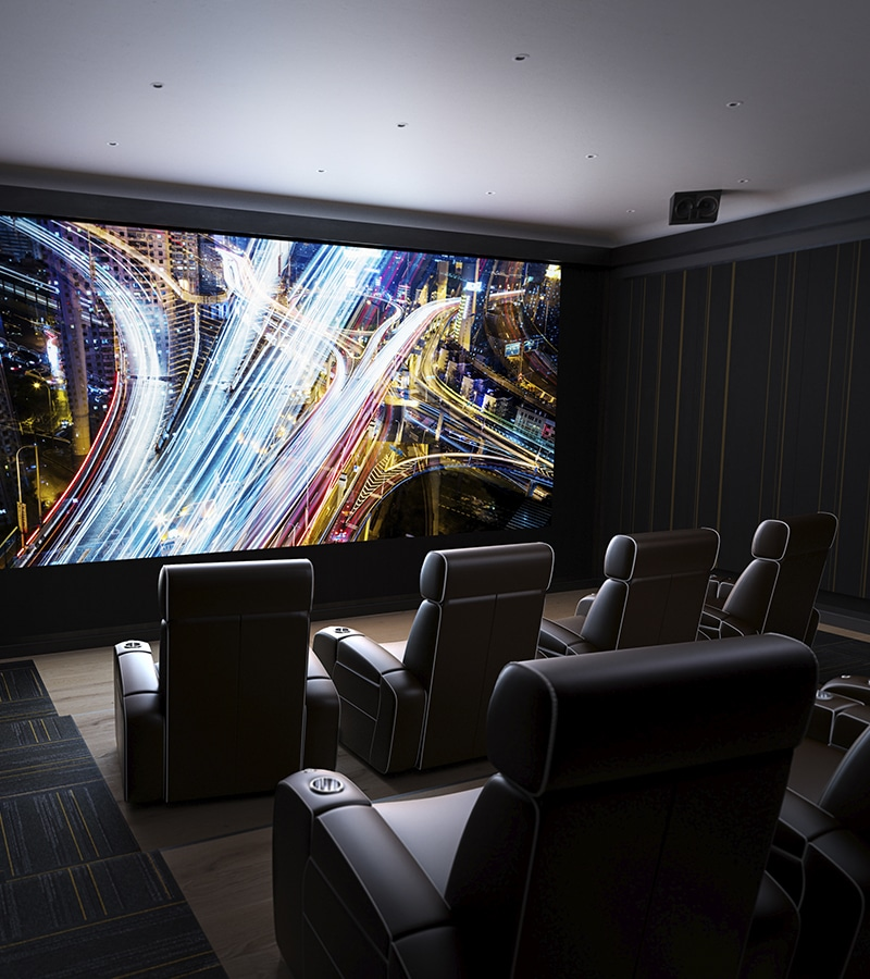 Home cinema with in-wall speakers