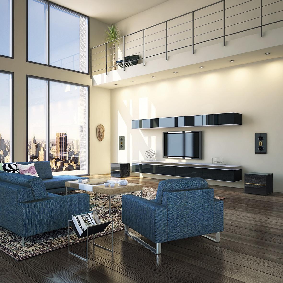 Model M speakers in big penthouse living room