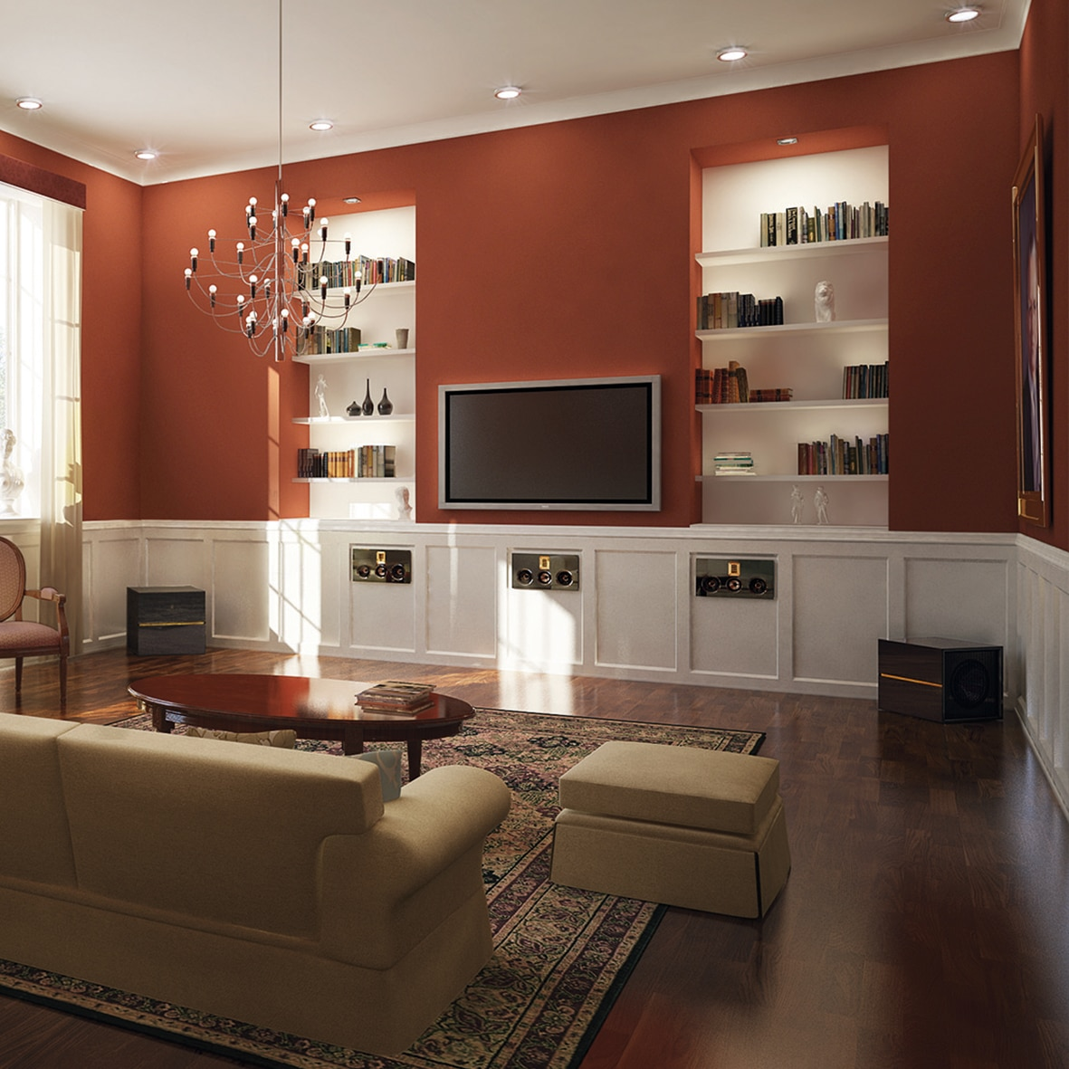 Model M in-wall in living room
