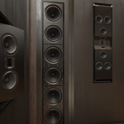 IW-66 and IC-26 Home Theater - closeup of angled wide front speaker.jpg